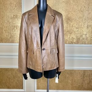 NWT! Context Brown 100% leather blazer 16